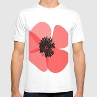 Red Poppy Flower Mens Fitted Tee White SMALL