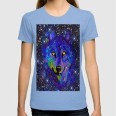 WOLF   Womens Fitted Tee Tri-Blue SMALL