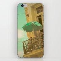 Vintage Turquoise Summer Umbrella (Retro and Vintage Urban Photography)  iPhone & iPod Skin