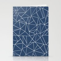 Abstraction Outline Navy Stationery Cards