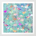 Flamingo Party  Art Print