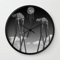 Dali's Mechanical Elephants - Black Sky Wall Clock