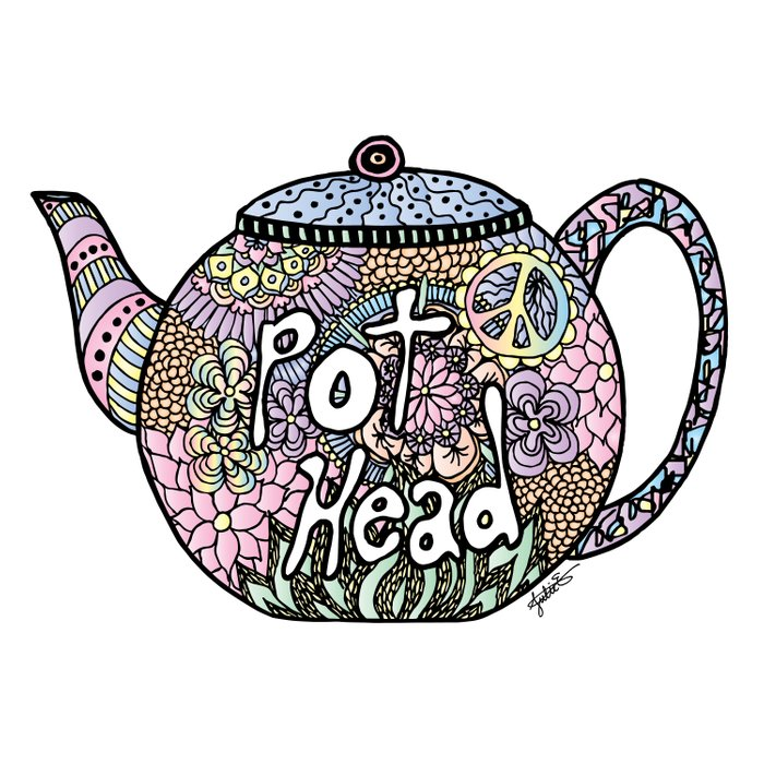 tea pot head lover teapot drawing illustration design