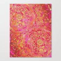 Hot Pink And Gold Baroqu… Canvas Print