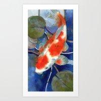 Koi Art, Koi Painting, W… Art Print