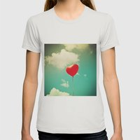 Red Heart Balloon in a Vintage Turquoise Sky  Womens Fitted Tee Silver SMALL