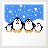 NGWINI - Penguin Family … Art Print