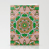 Brown & Green Boho Floral Pattern Stationery Cards