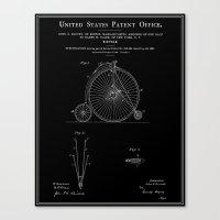 High Wheel Bicycle Patent - Black Canvas Print