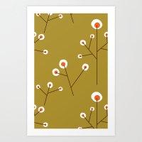 Retro Green Pattern Design Art Print
