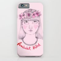 iPhone Cases featuring Floral Feminist Bitch by Ambivalently Yours
