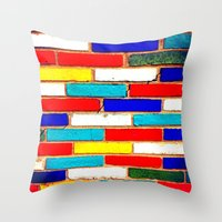 Vibrant Brick Throw Pillow
