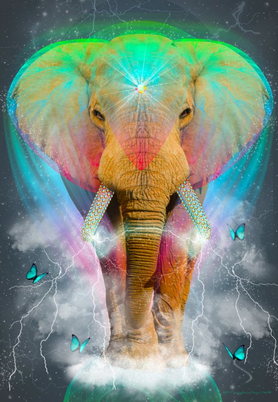 Nothing Is So Strong As Gentleness (Neon Elephant v. 2) Art Print