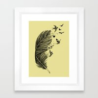 Feather Birds BW Framed Art Print