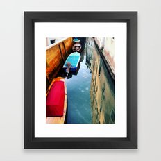 Boats in canal Framed Art Print