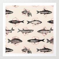 fish Art Prints featuring Fishes In Geometrics (Red) by Florent Bodart / Speakerine