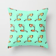 Desk Lamps (orange, Mint… Throw Pillow