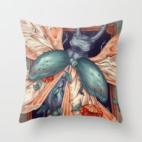 Moth Beetle Throw Pillow
