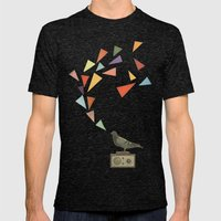 Pigeon Radio Mens Fitted Tee Tri-Black SMALL
