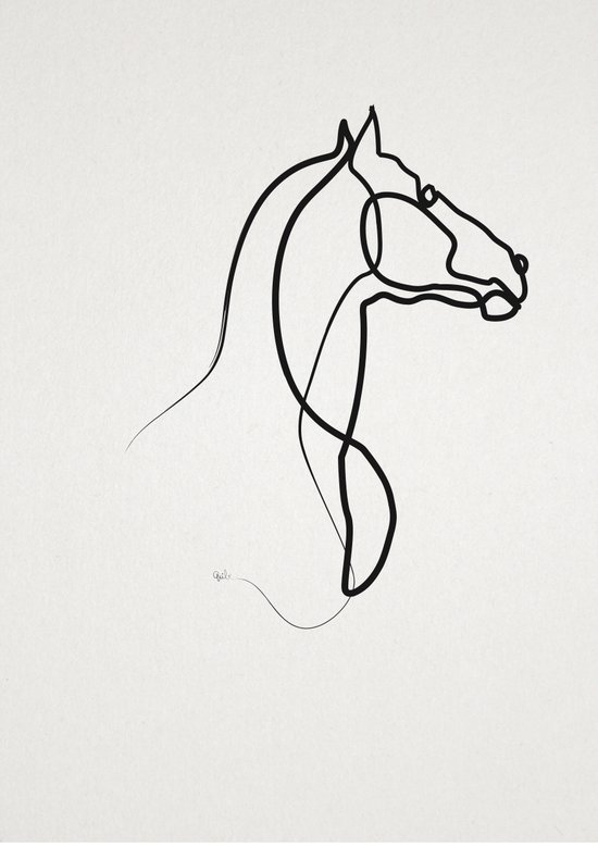 Continuous Line Drawing Quibe : Oneline horse art print by quibe society