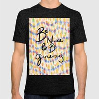 be kind and be generous Mens Fitted Tee Tri-Black SMALL