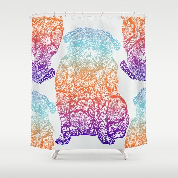Mandala Pug Shower Curtain By Huebucket