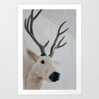 Winter Deer - JUSTART © Art Print