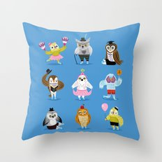 Owls Wearing Outfits Throw Pillow