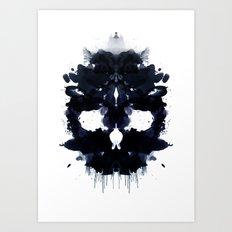 Rorschach skull dark Art Print