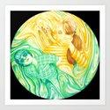"Swirl Girls - ""Emerald & Topaz""  Art Print"