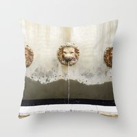 Three Lions Fountain Throw Pillow