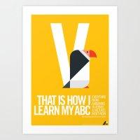 Animal Alphabet V Art Print