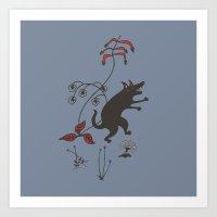Black Dog Dancing In A G… Art Print
