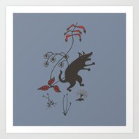 Black Dog Dancing in a Gorey Garden Art Print