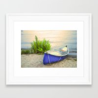 Blue Canoe Framed Art Print