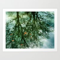 Water Scape with Leaves Art Print