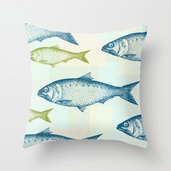 Vintage fish throw pillow by jacqueline maldonado society6 for Fish throw pillows