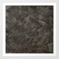 Black And White Brushstrokes Abstract Pattern Modern Art Print