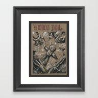 Framed Art Print featuring Voodoo Doll (Drawlloween… by Pakowacz