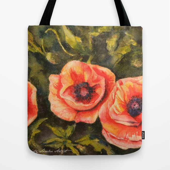 Poppies Sunlit Blooms Watercolor Tote Bag