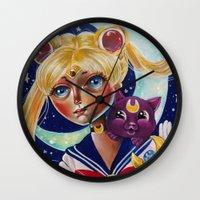 Sailor Moon and Luna Fan Art Pop Surrealism  Wall Clock