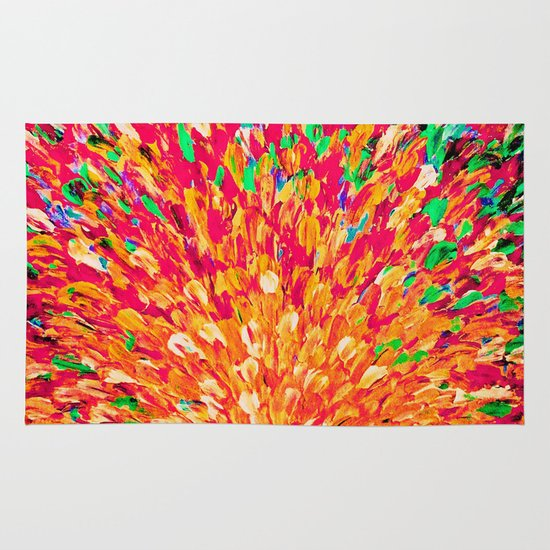 NEON SPLASH - WOW Intense Dash of Cheerful Color, Bold Water Waves Nature Lovers Modern Abstract  Area & Throw Rug