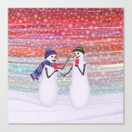 Snowmen With Popsicles Canvas Print