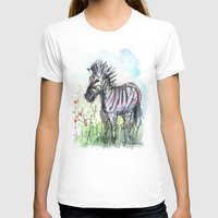 zebra T-shirts featuring Zebra by Olechka