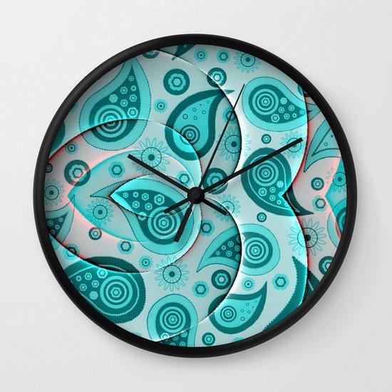 Lovely paisley,aqua Wall Clock