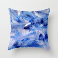Blue Plumes Throw Pillow