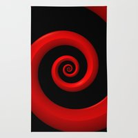 Red Spiral on Black Background Rug
