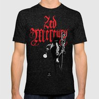 Zed Mercury RED print Mens Fitted Tee Tri-Black SMALL