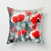 Poppy Art 3 Throw Pillow