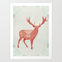Christmas Stag Art Print